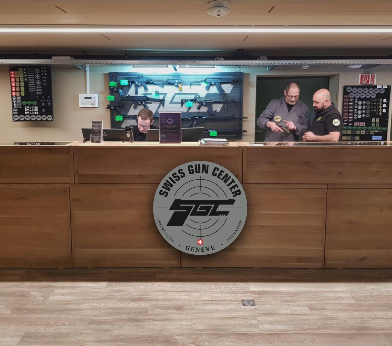 stand de tir Notre centre SGC stand tir geneve accueil desk logo